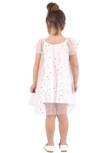 Silversun Kids Kız Çocuk Yıldız Baskılı Tüllü Elbise Ek 217707 Ekru